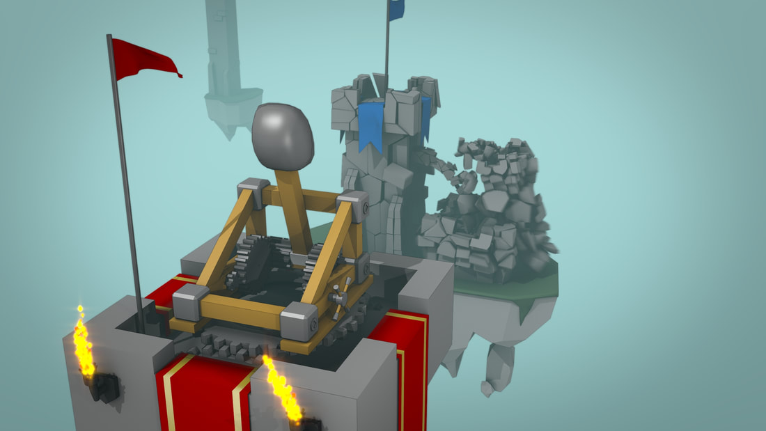 Catapult and Tower 3D Blender